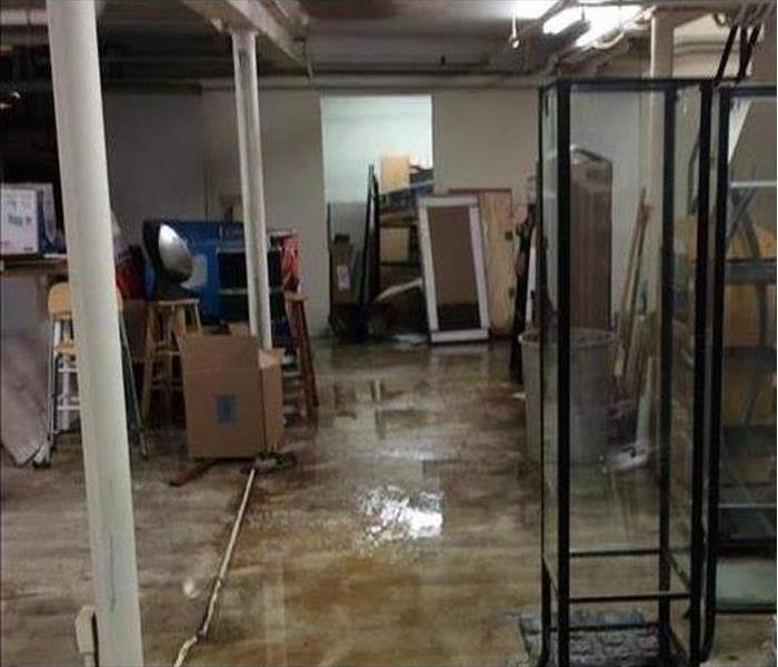 water damaged commercial storage area
