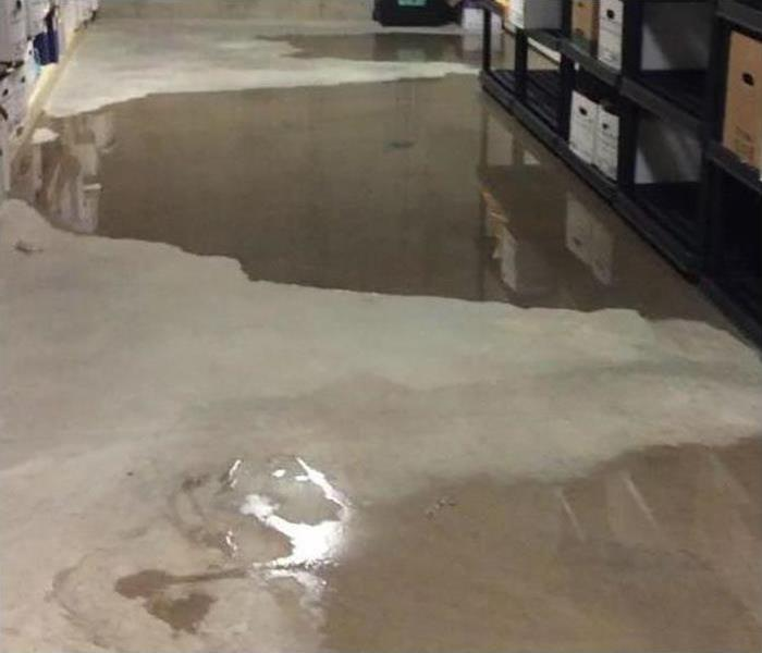 water covering flooring in office
