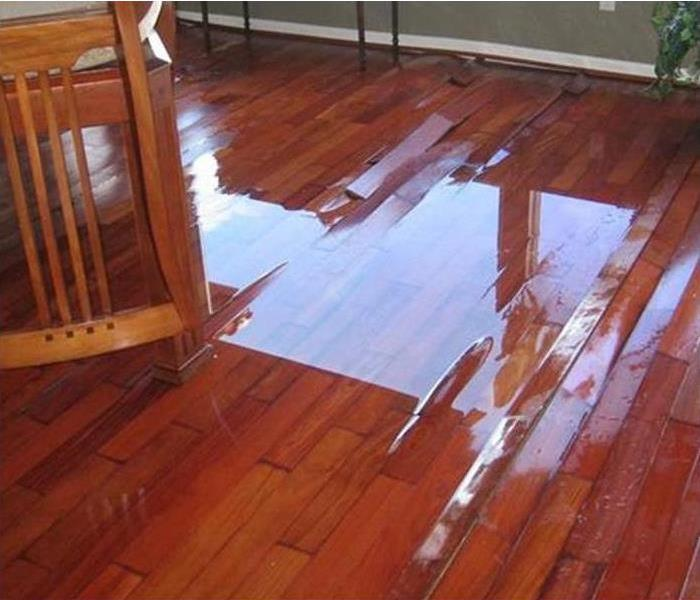 pooling water reflecting off of warped and damaged floorboards