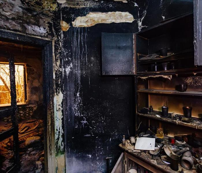 burned out destroyed kitchen from a fire