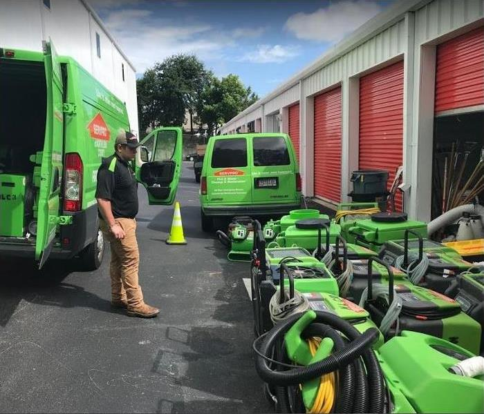 SERVPRO equipment stacked outside of storage facility